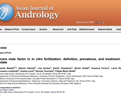 Un nuevo estudio GeneraLife en el ASIAN JOURNAL OF ANDROLOGY sobre la fertilidad masculina