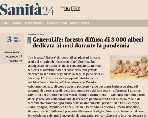 """On """"Il Sole 24 Ore"""" the GeneraLife forest for children born during the pandemic"""