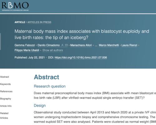 El IMC modula la fertilidad, aunque sólo se tengan unos kilos de más Estudio de GeneraLife publicado en RBMO